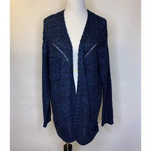 Zara Knit Open Cardigan Pockets Blue Crochet 1X